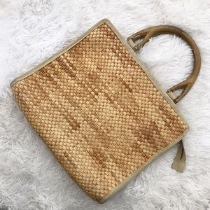 Vintage Mister Earnest Straw and Wood Handbag